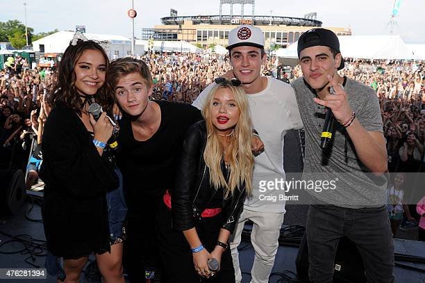 Stella Hudgens Jack Johnson Alli Simpson Sammy Wilkinson and Jack Gilinsky speaking on the Mudd Stage at Digifest on June 6 2015 in New York City