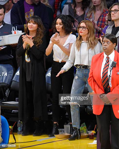 Stella Hudgens Vanessa Hudgens and Ashley Tisdale attend a basketball game between the Detroit Pistons and the Los Angeles Lakers at Staples Center...