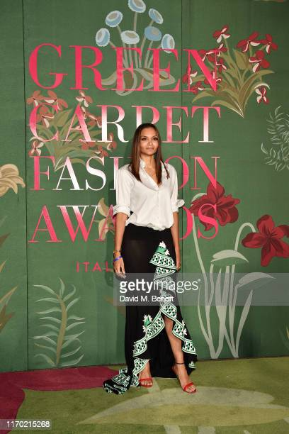 Stella Jean attends The Green Carpet Fashion Awards, Italia 2019, hosted by CNMI & Eco-Age, at Teatro Alla Scala on September 22, 2019 in Milan,...