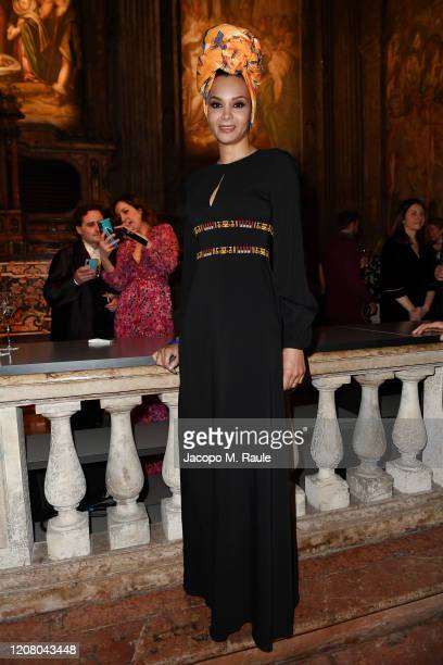 Stella Jean attends the Vogue Yoox Challenge - The Future of Responsible Fashion Dinner event at S. Paolo Converso on February 22, 2020 in Milan,...