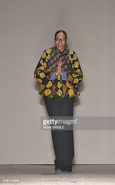Stella Jean walks the runway during the Stella Jean as a part of Milan Fashion Week Womenswear Autumn/Winter 2014 on February 24, 2014 in Milan,...