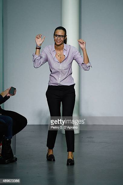 Stella Jean walks the runway during the Stella Jean fashion show as part of Milan Fashion Week Spring/Summer 2016 on September 23 2015 in Milan Italy