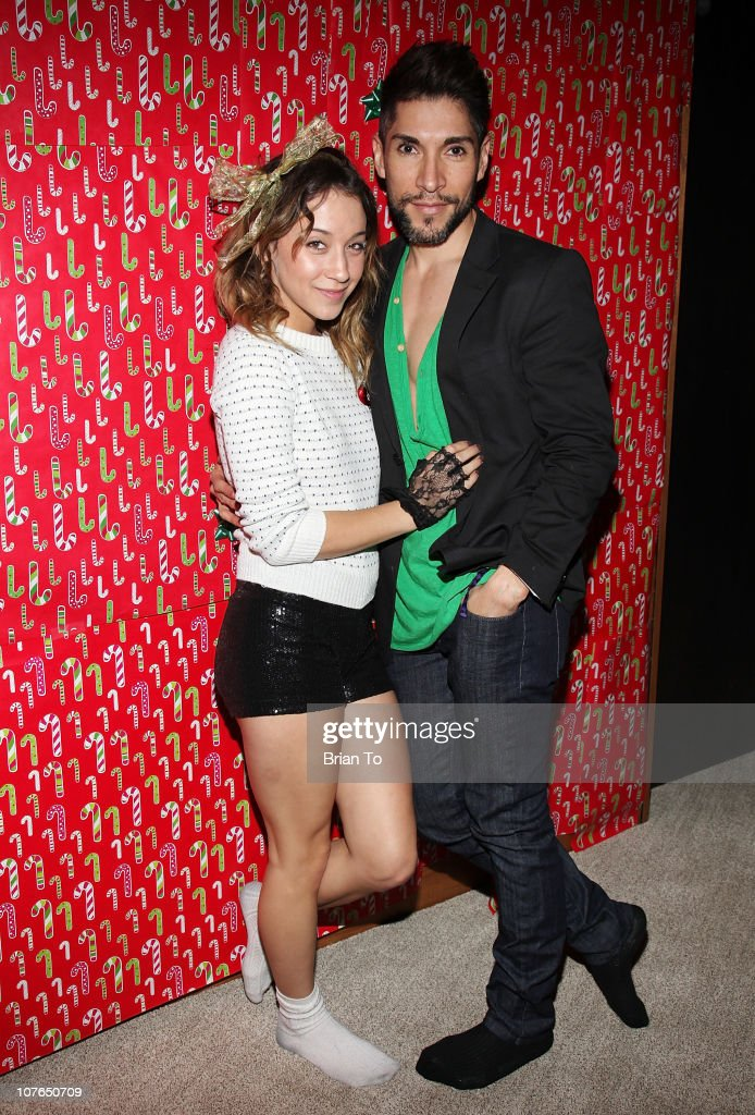 Stella Maeve and Dean Roybal attend Tacky Christmas Tree skirt party hosted by James Costa on December 16, 2010 in Los Angeles, California.