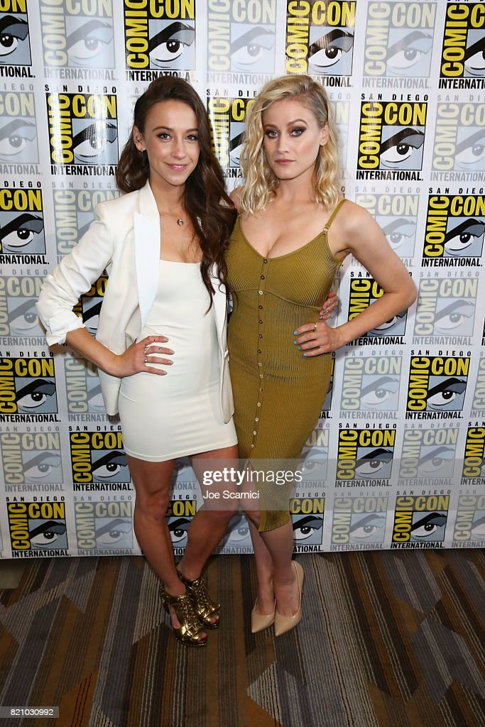 Stella Maeve and Olivia Taylor Dudley arrive at 'The Magicians' press line at Comic-Con International 2017 on July 22, 2017 in San Diego, California.