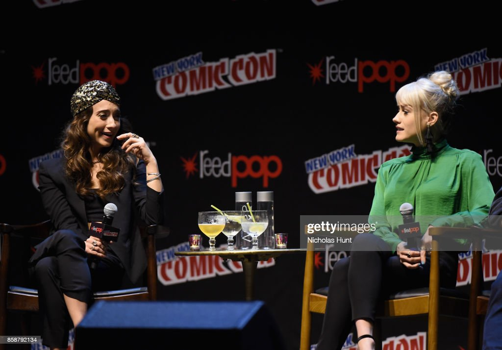 Stella Maeve and Olivia Taylor Dudley speak at The Magicians Panel during 2017 New York Comic Con - Day 3 on October 7, 2017 in New York City.