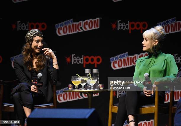 Stella Maeve and Olivia Taylor Dudley speak at The Magicians Panel during 2017 New York Comic Con Day 3 on October 7 2017 in New York City