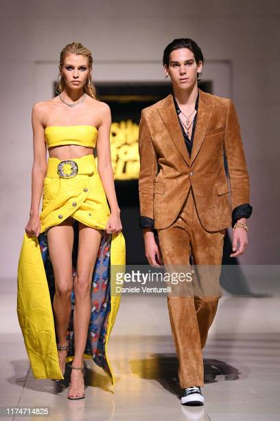 Stella Maxwell and Paris Brosnan walk the runway during the Fashion For Relief catwalk show London 2019 at The British Museum on September 14 2019 in...