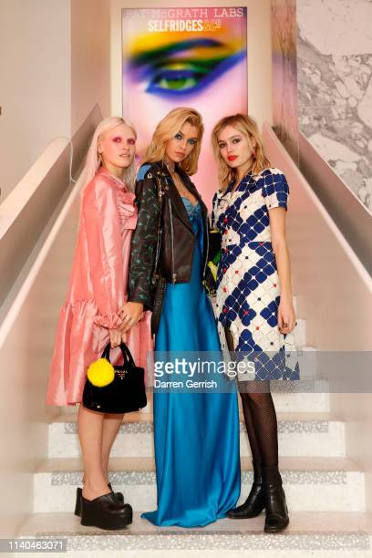 Stella Maxwell and Staz Lindes attend the Pat McGrath 'A Technicolour Odyssey' Campaign launch party at Brasserie of Light Selfridges on April 04...