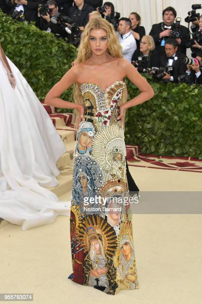 Stella Maxwell attends the Heavenly Bodies Fashion The Catholic Imagination Costume Institute Gala at The Metropolitan Museum of Art on May 7 2018 in...