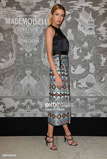 Stella Maxwell attends the Mademoiselle Prive Exhibition at the Saatchi Gallery on October 12 2015 in London England