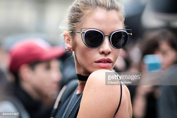 Stella Maxwell is seen after the Atelier Versace show at Palais Brongniart during Paris Fashion Week Haute Couture F/W 2016/2017 on July 3 2016 in...