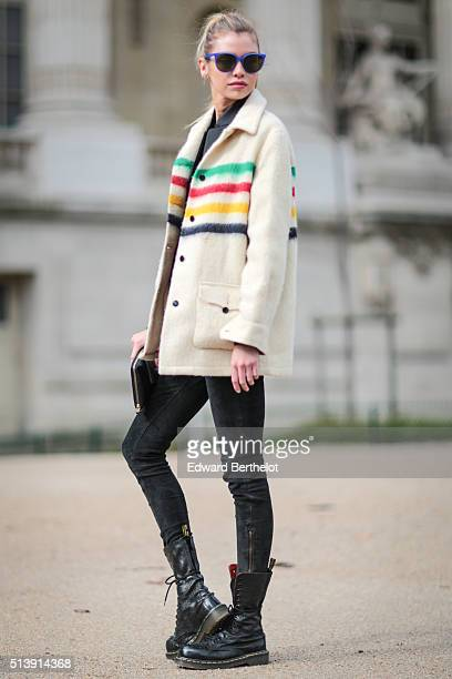 Stella Maxwell is seen after the Mugler show during Paris Fashion Week Womenswear Fall Winter 2016/2017 on March 5 2016 in Paris France