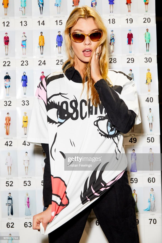 Stella Maxwell is seen backstage ahead of the Moschino show during Milan Fashion Week Fall/Winter 2018/19 on February 21, 2018 in Milan, Italy.