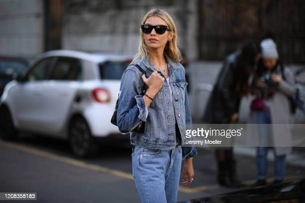 Stella Maxwell is seen wearing a jeansjacket before Etro during Milan Fashion Week Fall/Winter 2020-2021 on February 21, 2020 in Milan, Italy.
