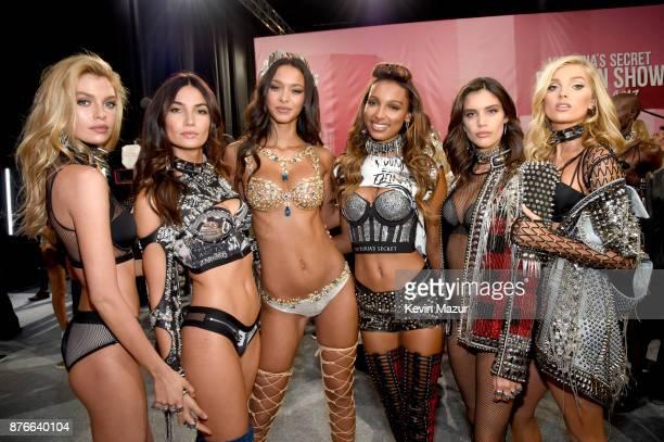 Stella Maxwell Lily Aldridge Lais Ribeiro Jasmine Tookes Sara Sampaio and Elsa Hosk pose backstage during 2017 Victoria's Secret Fashion Show In...
