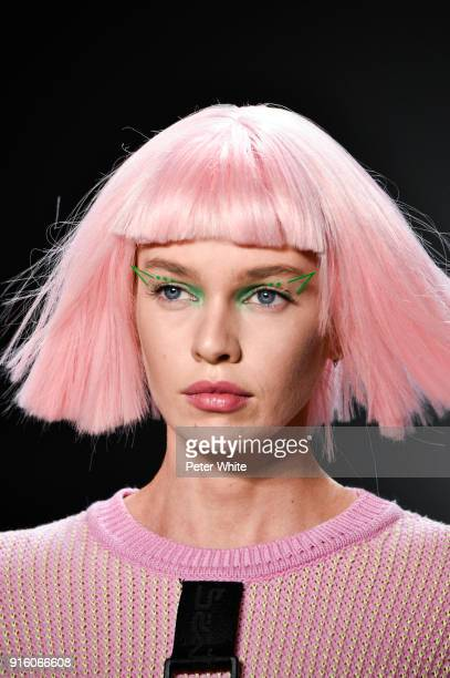 Stella Maxwell walks the runway at Jeremy Scott Show Fall 2018 during New York Fashion Week The Shows at Gallery I at Spring Studios on February 8...
