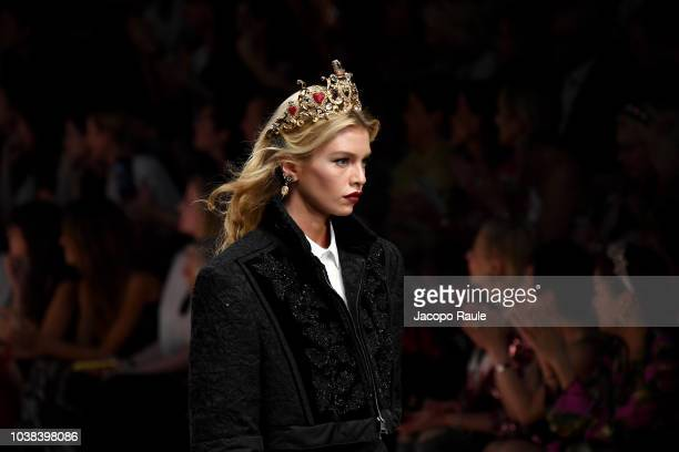 Stella Maxwell walks the runway at the Dolce Gabbana show during Milan Fashion Week Spring/Summer 2019 on September 23 2018 in Milan Italy
