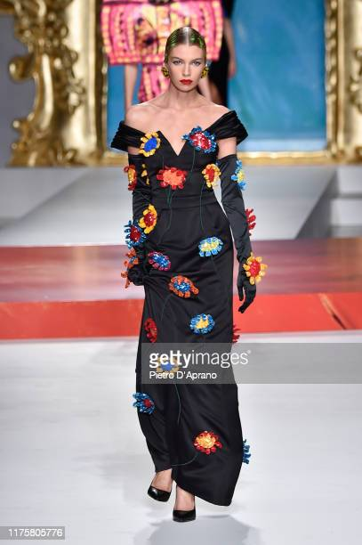 Stella Maxwell walks the runway at the Moschino show during the Milan Fashion Week Spring/Summer 2020 on September 19 2019 in Milan Italy