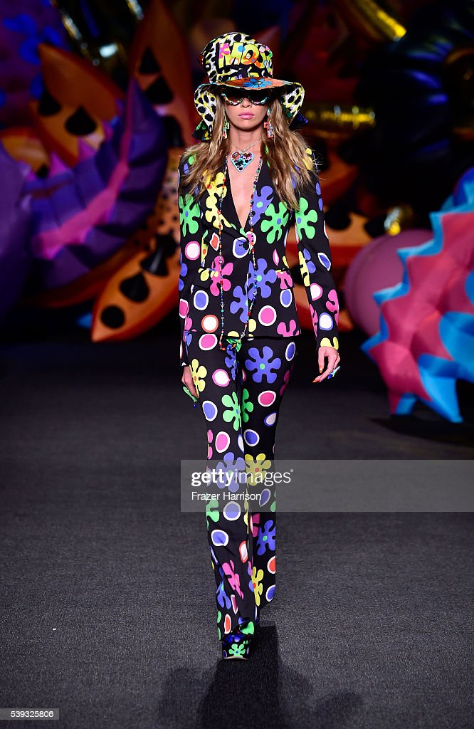 Stella Maxwell walks the runway at the Moschino Spring/Summer 17 Menswear and Women's Resort Collection during MADE LA at L.A. LIVE Event Deck on June 10, 2016 in Los Angeles, California.