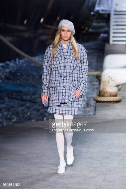 Stella Maxwell walks the runway during the Chanel Cruise 2018/2019 Collection at Le Grand Palais on May 3 2018 in Paris France