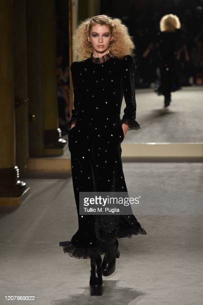 Stella Maxwell walks the runway during the Philosophy fashion show as part of Milan Fashion Week Fall/Winter 2020-2021 on February 22, 2020 in Milan,...
