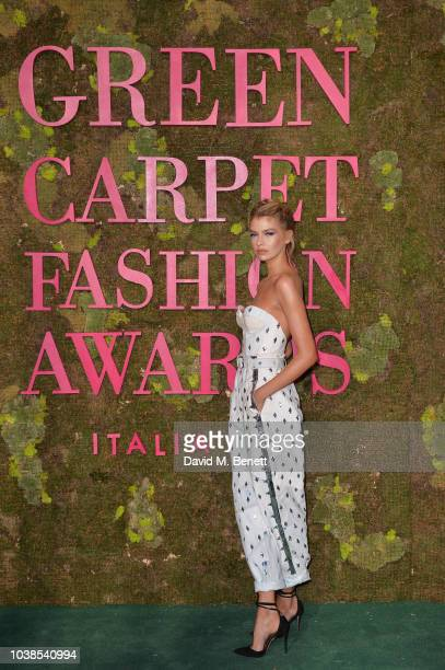 Stella Maxwell, wearing Philosophy, attends The Green Carpet Fashion Awards Italia 2018 at Teatro Alla Scala on September 23, 2018 in Milan, Italy.