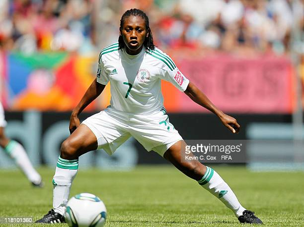 Stella Mbachu of Nigeria during the FIFA Women's World Cup 2011 Group A match between between Nigeria and France at Rhein-Neckar-Arena on June 26,...