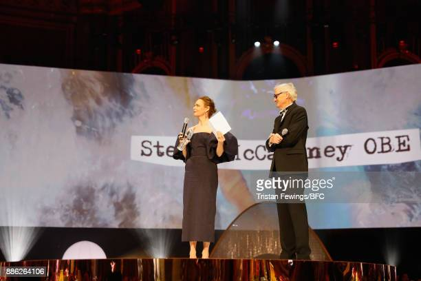 Stella McCartney accepts the Special Recognition award for Innovation from Sir James Dyson on stage during The Fashion Awards 2017 in partnership...