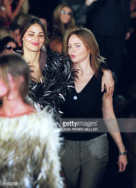 Stella McCartney acknowledges the audience after the show for her label Chloe during the AutumnWinter 2000/2001 readytowear collections in Paris 01...