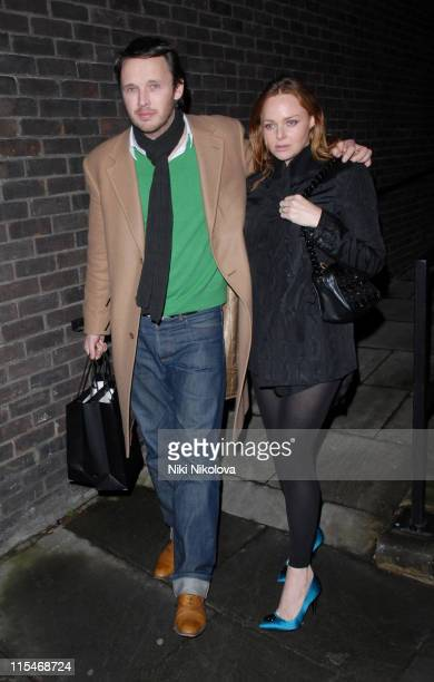 Stella McCartney and Alasdhair Willis during TAG Heuer Strength Beauty Exhibition Opening Night Party at Royal College of Arts Kensington in London...