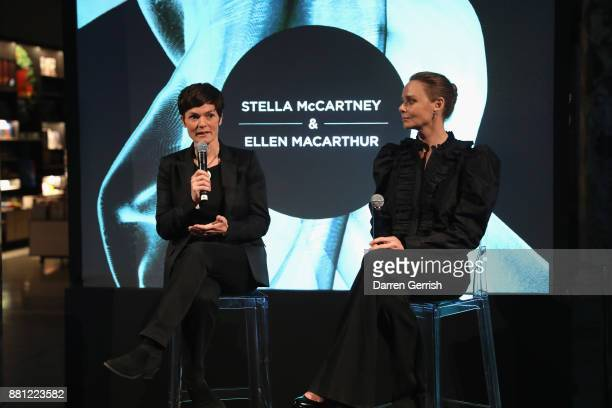 Stella McCartney and Ellen MacArthur speak during the 'Creating A Future For Fashion' VIP launch cohosted by Dame Ellen Macarthur and Stella...