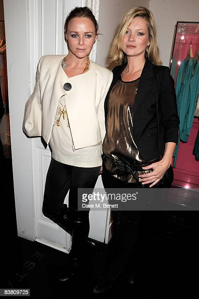 Stella McCartney and Kate Moss attend a private party to see the Christmas lights switch on at the Stella McCartney store on November 24 2008 in...