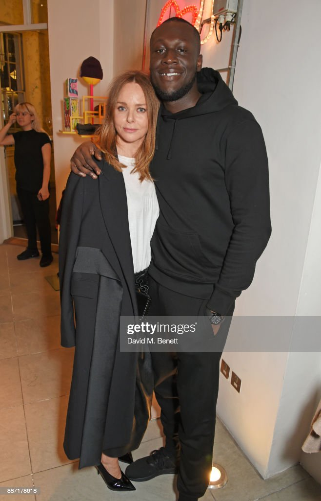 Stella McCartney (L) and Stormzy attend the Stella McCartney Christmas Lights 2017 party on December 6, 2017 in London, England.