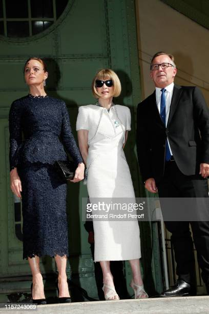 "Stella McCartney, Anna Wintour and Bruno Pavlosky attend ""Karl for Ever"" Tribute to Karl Lagerfeld at Grand Palais on June 20, 2019 in Paris, France."