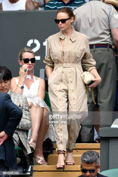 Stella McCartney attends day seven of the Wimbledon Tennis Championships at the All England Lawn Tennis and Croquet Club on July 9 2018 in London...