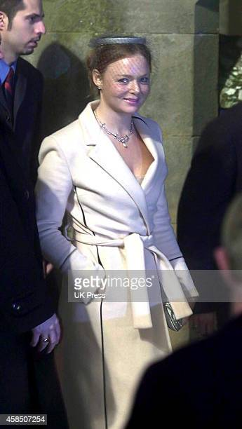 Stella McCartney attends Madonna and Guy Ritchie's son Rocco's Christening Ceremony at Dornoch Cathedral in Scotland on December 21 2000 in Dornoch...