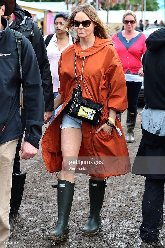 Stella McCartney attends the Glastonbury Festival at Worthy Farm, Pilton on June 25, 2016 in Glastonbury, England.