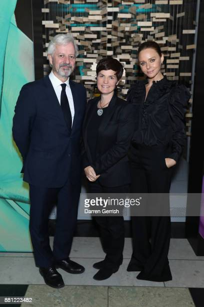 Stella McCartney Ellen MacArthur and Andrew Morlet during the 'Creating A Future For Fashion' VIP launch cohosted by Dame Ellen Macarthur and Stella...