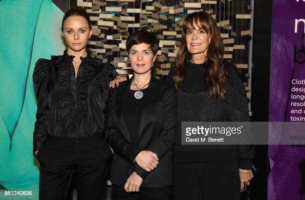 Stella McCartney Ellen MacArthur and Julie Gilhart attend the launch of the Circular Fibres Initiate Report 'Towards A New Textiles Economy' hosted...