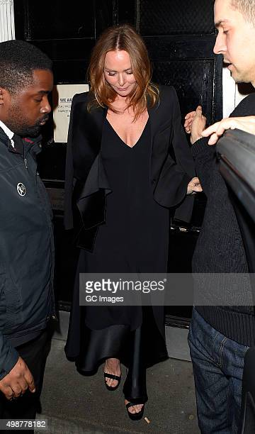 Stella McCartney leaves her Mayfair store's Christmas lights switch on party in Mayfair on November 25 2015 in London England