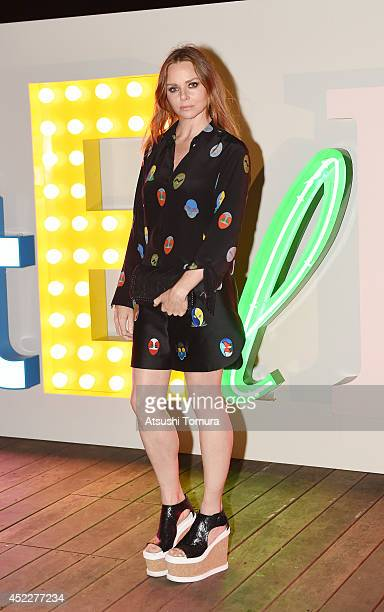 Stella McCartney poses in her Spring 2015 collection at the Stella McCartney Spring 2015 Presentation and Party at Roppongi Hills on July 17 2014 in...
