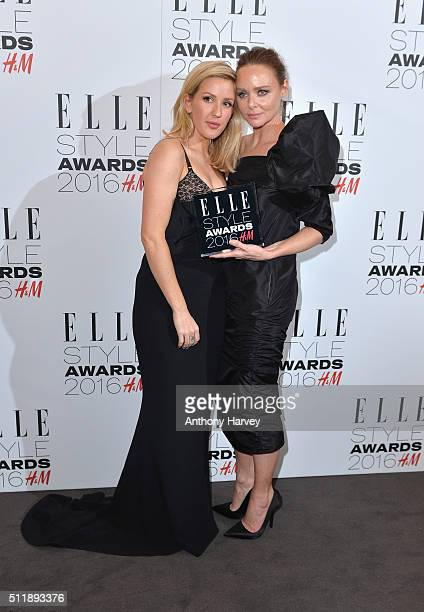 Stella McCartney poses with her award for British Brand of The Year with Ellie Goulding in the winners room at The Elle Style Awards 2016 on February...