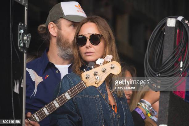 Stella McCartney watches Royal Blood perform from backstage on day 2 of the Glastonbury Festival 2017 at Worthy Farm Pilton on June 23 2017 in...