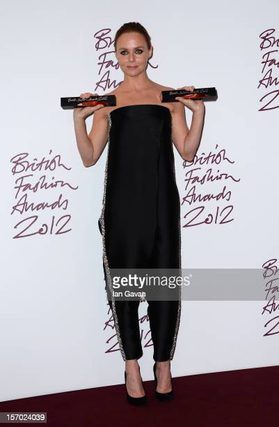 Stella McCartney winner of Designer of the Year poses in the awards room at the British Fashion Awards 2012 at The Savoy Hotel on November 27 2012 in...