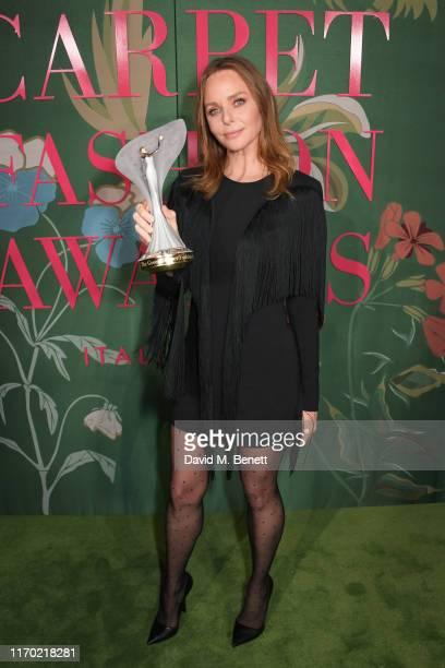 Stella McCartney, winner of The Groundbreaker Award, poses in the Winners Room at The Green Carpet Fashion Awards, Italia 2019, hosted by CNMI &...