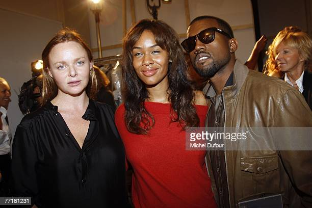 Stella McCartney with Kanye West and his wife attends the Stella McCartney fashion show during the Spring/Summer 2008 readytowear collection show at...