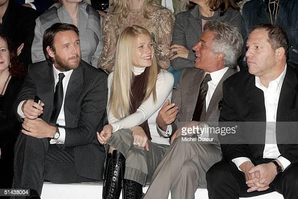 Stella McCartney's husband Publisher Alasdhair Willis actress Gwyneth Paltrow and Head of Miramax Harvey Weinstein watch the Stella McCartney fashion...