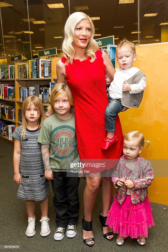 Stella McDermott, Liam McDermott, Tori Spelling, Finn McDermott and Hattie McDermott attend as Tori Spelling signs copies of her new book 'Spelling It Like It Is' at Barnes & Noble bookstore at The Grove on November 9, 2013 in Los Angeles, California.