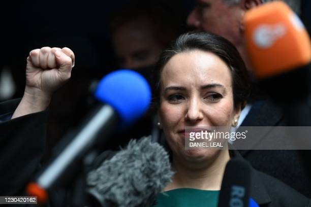 Stella Moris , partner of Wikileaks founder Julian Assange, gestures as she speaks to the media outside the Old Bailey court in central London after...