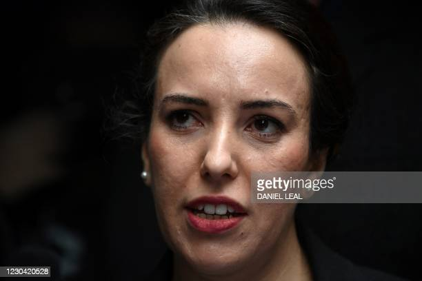 Stella Moris, partner of Wikileaks founder Julian Assange, speaks to the media outside the Old Bailey court in central London after a judge ruled...